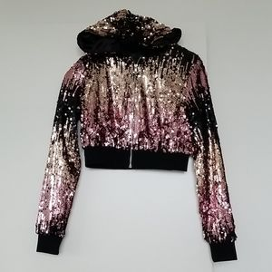 Forever 21 Ombre Sequins cropped Hoodie